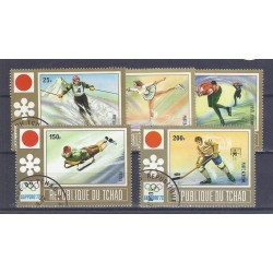 CHAD - 5 TIMBRES - 25, 75 130, 150 ET 200 FRANCS - 1972 - O.G. OF SAPPORO
