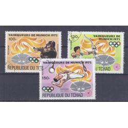 TCHAD - 3 TIMBRES - 100, 130 ET 150 FRANCS - 1972 - JO DE MUNICH