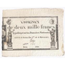 ASSIGNAT DE 2 000 FRANCS - 07/01/1795 - DOMAINES NATIONAUX - TTB/SUP