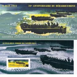 """BLOC FEUILLET N°113 - """"70E ANNIVERSAIRE DU DEBARQUEMENT - 6 JUIN 1944"""" - 2014 - 1 TIMBRE-POSTE - NEUF"""