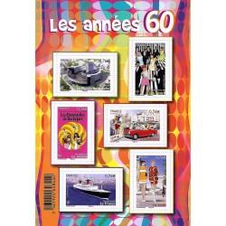 """BLOC FEUILLET """"LES ANNEES 60"""" - 6 TIMBRES-POSTES DE 0.76 € - 2015 - NEUF"""