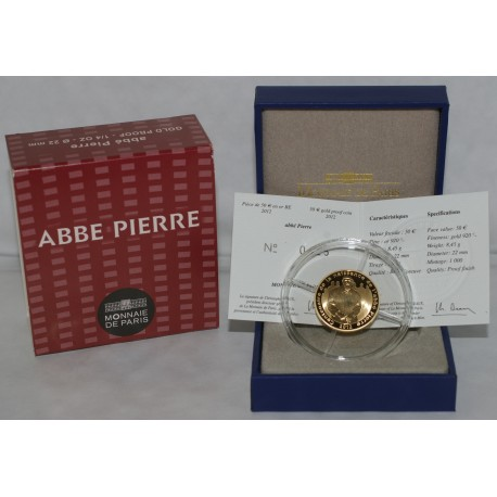 GRANDES CAUSES - 50 EURO 2012 - OR - ABBE PIERRE - BELLE EPREUVE