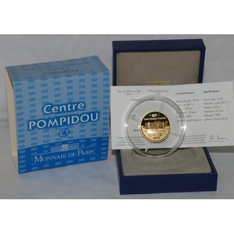 CENTRE GEORGES POMPIDOU - 50 EURO 2010 - GOLD - PROOF
