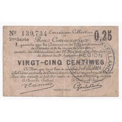 59 - DOUAI - CARVIN - BONS COMMUNAUX - 25 CENTIMES - 21/9/1914 22/5/1916 - TTB