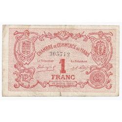 72 - LE MANS - CHAMBRE DE COMMERCE - 1 FRANC - 15/04/1920 - TRES TRES BEAU