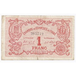COUNTY 72 - LE MANS - CHAMBER OF COMMERCE - 1 FRANC - 15/4/1920 - VF