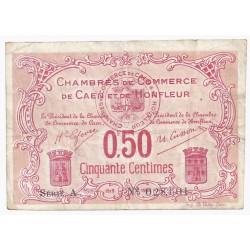 14 - CAEN ET HONFLEUR - CHAMBRE DE COMMERCE - 50 CENTIMES 1915/1920 - TRES TRES BEAU