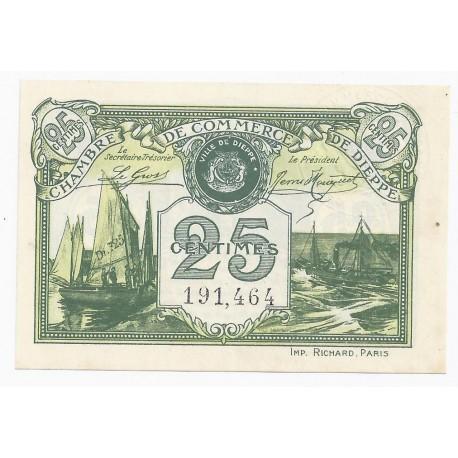 76 - DIEPPE - CHAMBRE DE COMMERCE - 25 CENTIMES 1920 - SPLENDIDE