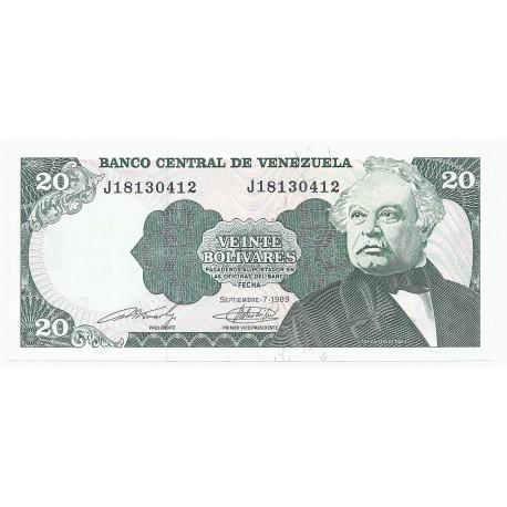 VENEZUELA - PICK 63 b - 20 BOLIVARES - 07.09.1989 - NEUF
