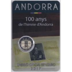 ANDORRE - 2 EURO 2017 - 100EME ANNIVERSAIRE DE L'HYMNE NATIONAL - COINCARD