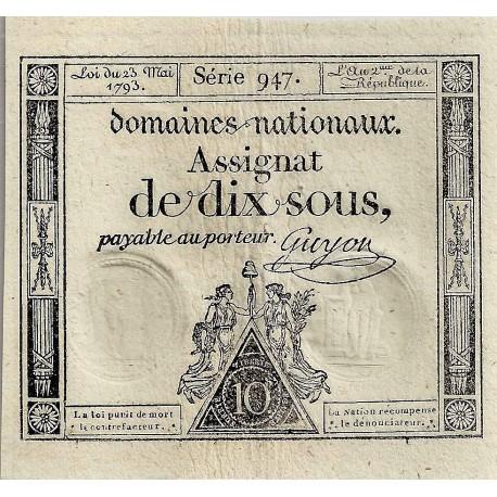 ASSIGNAT DE 10 SOUS - SERIE 947 - 23/05/1793 - DOMAINES NATIONAUX - SUPERBE