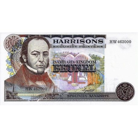 HARRISONS SECURITY PRINTERS - SPECIMEN BANKNOTE - ISAMBARD - KINGDOM BRUNEL - 1806-1859 - NEUF