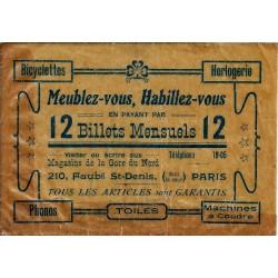 """FRANCE - PARIS - MAGASINS DE LA GARE DU NORD - EMBALLAGE PUBLICITAIRE """"12 BILLETS MENSUELS"""""""