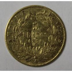 GADOURY 1001 - 5 FRANCS 1856 A - OR - NAPOLEON III - KM 787