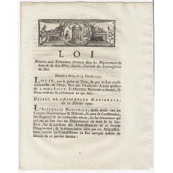 LOUIS XVI - LOI DU 13 FEVRIER 1791 - RELATIVE AUX ÉVÈNEMENT DU HAUT & DU BAS-RHIN