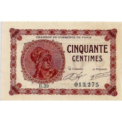75 - PARIS - CHAMBRE DE COMMERCE - 50 CENTIMES 1920