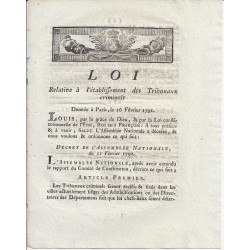 LOUIS XVI - LAW OF 16 FEBRUARY 1791 - CRIMINAL COURTS