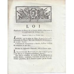 LOUIS XVI ET DU PORT - LOI DU 25 FEVRIER 1791 - RELATIVE A LA CONSECRATION DES EVEQUES ELUS
