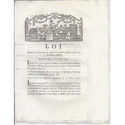 LOUIS XVI ET DU PORT - LOI DU 27 MARS 1791 - RELATIVE AU PAYMENT...DE LA DETTE EXIGIBLE