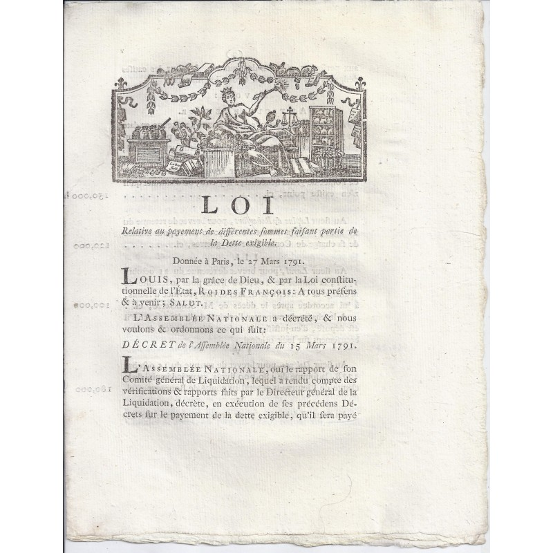 LOUIS XVI AND DU PORT - LAW OF 27 MARCH 1791 - Payment of the due debt