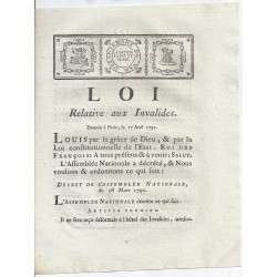 LOUIS XVI AND DU PORT - LAW OF 17 APRIL 1791 - Regarding the disabled