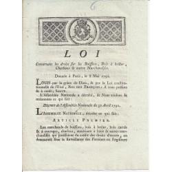 LOUIS XVI ET DU PORT - LOI DU 8 MAI 1791 - CONCERNANT LES BOISSONS, BOIS CHARBONS ET AUTRES - TEXTE ET SIGNATURES MANUSCRITES