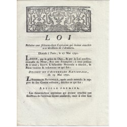 LOUIS XVI AND DU PORT - LAW OF 27 MAY 1791 - Regarding to the 62 Captains of Artillery