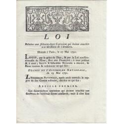 LOUIS XVI ET DU PORT - LOI DU 27 MAI 1791 - RELATIVE AUX 62 CAPITAINES ATTACHES A L'ARTILLERIE