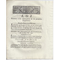 LOUIS XVI AND DU PORT - LAW OF 29 MAY 1791 - CONVOCATION OF THE FIRST LEGISLATIVE IN PARIS