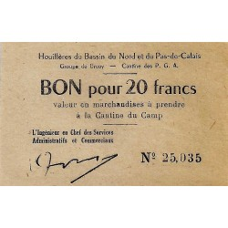 62 - BRUAY - 20 FRANCS - HOUILLERES OF THE NORD BASIN AND NORD PAS CALAIS
