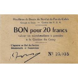 62 - BRUAY - BON POUR 20 FRANCS (1945) - HOUILLERES DU BASSIN DU NORD ET DU NORD PAS DE CALAIS
