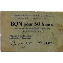62 - BRUAY - BON POUR 50 FRANCS (1945) - HOUILLERES DU BASSIN DU NORD ET DU NORD PAS DE CALAIS
