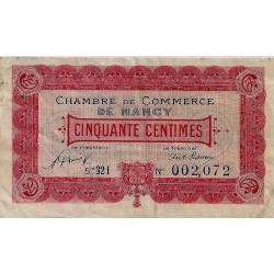 54 - NANCY - CHAMBRE DE COMMERCE - 50 CENTIMES - 1/01/1921