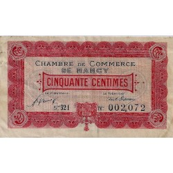 COUNTY 54 - NANCY - CHAMBER OF COMMERCE - 50 CENTIMES 1921 - F