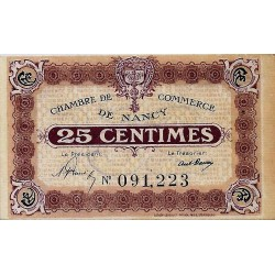54 - NANCY - CHAMBRE DE COMMERCE - 25 CENTIMES - 1918