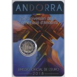ANDORRE - 2 EURO 2018 - 25ème Anniversaire de la Constitution - COINCARD