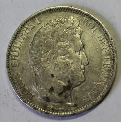 GADOURY 678 - 5 FRANCS 1842 W Lille TYPE LOUIS PHILIPPE 1er - KM 749