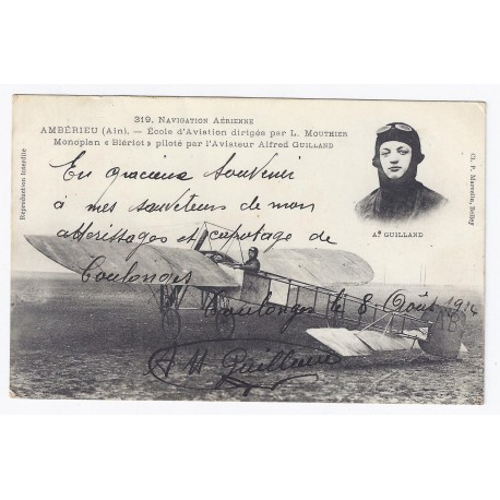 02130 - COULONGES - AUTOGRAPHE DE L'AVIATEUR ALFRED GUILLAND EN 1914