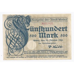 ALLEMAGNE - GERMANY NOTGELD DER STADT MAINZ - 500 MARK - 18.10.1922 - TTB/SUP