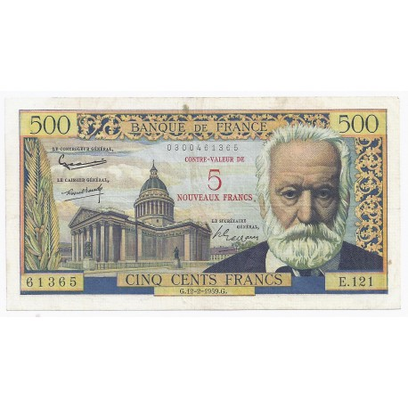 FRANCE - PICK 137 - OVERPRINT 5 NF ON 500 FRANCS VICTOR HUGO - 12/02/1959