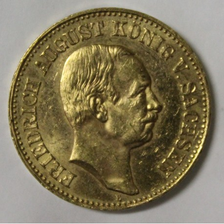 ALLEMAGNE - SAXE - KM 1265 - 20 MARK 1905 - OR