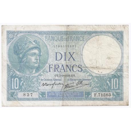 FAY 07/06 - 10 FRANCS MINERVE - 07/09/1939 - PICK 84