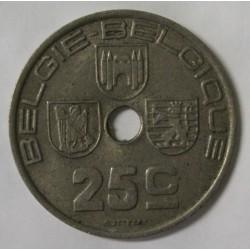 BELGIUM - KM 115 - 25 CENTIMES 1938