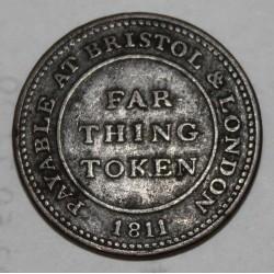 ANGLETERRE - 1 FARTHING - JETON DE 1811 - BRISTOL - LONDRES