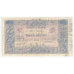 FRANKREICH - PICK 67 - 1000 FRANCS BLAU UND ROSA UNTERDRUCK - 19.03.1891