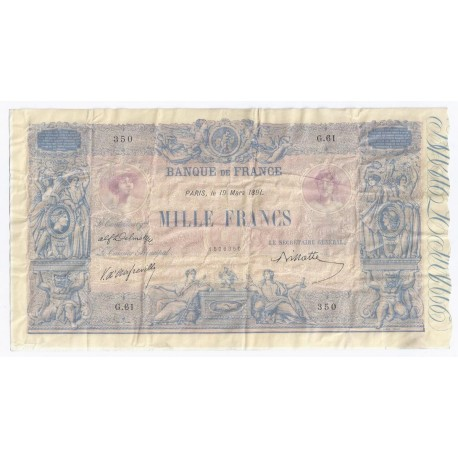 FRANCE - PICK 67 - 1000 FRANCS BLUE ON LILAC UNDERPRINT - 19.03.1891