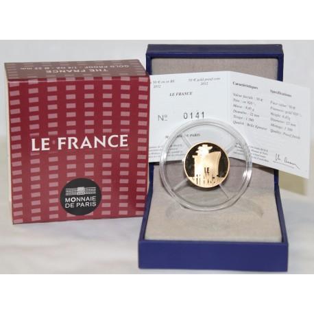 LES GRANDS NAVIRES FRANCAIS - LE FRANCE - 50 EURO 2012 - OR - BELLE EPREUVE