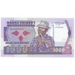 MADAGASCAR - PICK 72 - 1000 FRANCS - ND 1988-93