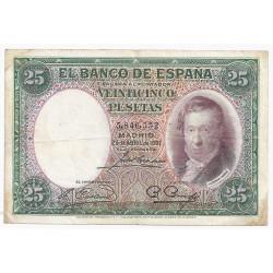 ESPAGNE - PICK 81 - 25 PESETAS - 25/04/1931