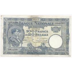 BELGIQUE - PICK 102 - 100 FRANCS - 20 BELGAS - 05/10/1927